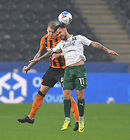 Hull City's Jordy de Wijs battles with Plymouth Argyle's Dom Telford<br /> <br /> Photographer Dave Howarth/CameraSport<br /> <br /> The EFL Sky Bet League One - Hull City v Plymouth Argyle - Saturday 3rd October 2020 - KCOM Stadium - Kingston upon Hull<br /> <br /> World Copyright © 2020 CameraSport. All rights reserved. 43 Linden Ave. Countesthorpe. Leicester. England. LE8 5PG - Tel: +44 (0) 116 277 4147 - admin@camerasport.com - www.camerasport.com
