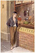 Temptation: Poor shoeless boy looking longingly at fruits on display in a shop window.  Chromolithograph c1880