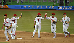 August 31, 2017 - Miami, FL, USA - The Philadelphia Phillies celebrate after a 3-2 win against the Miami Marlins at Marlins Park in Miami on Thursday, Aug. 31, 2017. (Credit Image: © David Santiago/TNS via ZUMA Wire)
