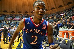 Jan 15, 2018; Morgantown, WV, USA; Kansas Jayhawks guard Lagerald Vick (2) celebrates after beating the West Virginia Mountaineers at WVU Coliseum. Mandatory Credit: Ben Queen-USA TODAY Sports