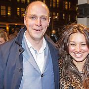 NLD/Amsterdam/20150306 - Boekenbal 2015, Jelle Brandt Corstius en partner Marscha Holman