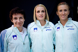 Helena Javornik, Sabina Veit and Sonja Roman at fashion show of new jerseys of Slovenian Athletic National Team, on October 28, 2008, in Mercator center Siska, Ljubljana, Slovenia. (Photo by Vid Ponikvar / Sportal Images).