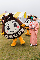 Obuse Nagano Mascot -  Japanese celebrate the silly, eccentric and adorable like no other country.  Its obsession with the yuru-kyara mascots is a perfect example of this.  These mascots represent products, teams, museums, schools, prisons, branches of the military, organizations  and even the national tax office.   Most towns, counties, and companies have their own yuru-kyara mascot, following this craze. Creepy or cute, they lurk around street fairs, community events, train stations and tourist destinations.  There are large Mascot Summits such as the one in Hanyu, Saitama held every year where mascots campaign and are voted on.  Mascots normally represent local culture or products. They may be created by local government or other organizations to stimulate tourism and economic development, or created by a company to build on their corporate identity. They may appear as costumed lovable characters at promotional events and festivals meant to convey affection for one's hometown or region.