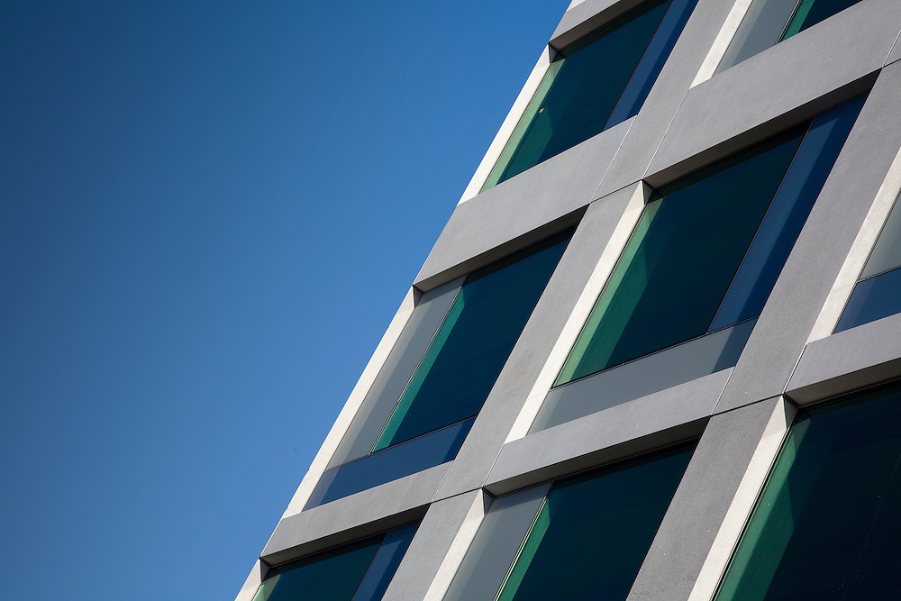 andy spain architectural photography<br /> office london windows abstract angle blue sky.