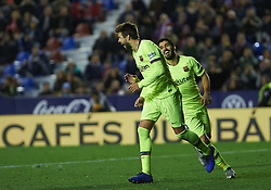 December 16, 2018 - Valencia, Valencia, Spain - Gerard Pique of FC Barcelona celebrates a goal during the La Liga match between Levante UD and FC Barcelona at Ciutat de Valencia Stadium on December 16, 2018 in Valencia, Spain. (Credit Image: © AFP7 via ZUMA Wire)