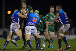March 22, 2019 - Ireland - Ultan Dillane of Connacht tackled by Tommaso Benvenuti and Tomas Baravalle of Benetton during the Guinness PRO14 match between Connacht Rugby and Benetton Rugby at the Sportsground in Galway, Ireland on March 22, 2019  (Credit Image: © Andrew Surma/NurPhoto via ZUMA Press)