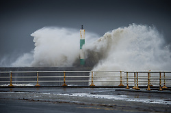 """© London News Pictures. 08/02/2014. Aberystwyth, UK. <br /> A giant waves strike the lighthouse at Aberystwyth, Wales at high tide. The winds are forecast to strengthen throughout the day, gusting up to 70 or 80 mph, and with the rising tide, their impact could be potentially damaging again. An amber """"be prepared"""" warning  has been issued by the Met Office for wind,. Photo credit: Keith Morris/LNP"""