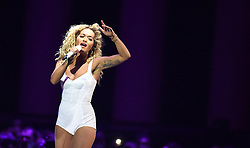Rita Ora performs on stage during the 2018 BRIT Awards show, held at the O2 Arena, London. EDITORIAL USE ONLY. PRESS ASSOCIATION Photo. Picture date: Wednesday February 21, 2018. See PA Story SHOWBIZ Brits. Photo credit should read: Victoria Jones/PA Wire.