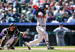April 8, 2018 - Denver, CO, U.S. - DENVER, CO - APRIL 08: Atlanta Braves Outfielder Ender Inciarte (11) bats during a regular season MLB game between the Colorado Rockies and the visiting Atlanta Braves on April 8, 2018 at Coors Field in Denver, CO. (Photo by Russell Lansford/Icon Sportswire) (Credit Image: © Russell Lansford/Icon SMI via ZUMA Press)