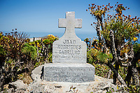 Monument to Joao Rodrigues Cabrillho, Portuguese explorer and first European to navigate coastal California, San Miguel Island, Channel Islands National Park, California