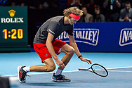 Alexander 'Sasha' Zverev of Germany falls to the ground after winning his finals match  during the Nitto ATP Tour Finals at the O2 Arena, London, United Kingdom on 18 November 2018. Photo by Martin Cole