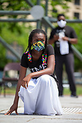 Wilkes-Barre, PA (July 11, 2020) -- A member of the Mt. Zion Abundant Praise Dancers prepares to perform at the Black Lives Matter NEPA United Movement event at Wilkes-Barre Public Square.