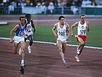 Athletics - 1980 Moscow Olympics - Men's 200 metres Final. 28/07/1980<br /> <br /> Italy's Pietro Mennea (433), wins the gold medal in the Grand Arena of the Central Lenin Stadium, Moscow, USSR.<br /> <br /> Great Britain's Allan Wells (290), won the silver.