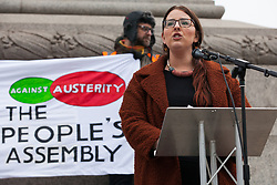 London, UK. 12th January, 2019. Shadow Minister for Business, Energy and Industrial Strategy Laura Pidcock addresses hundreds of protesters taking part in a 'Britain is Broken: General Election Now' demonstration organised by the People's Assembly Against Austerity. Organisers argued that the overriding objective of working people in the UK should be to remove the Conservative Government from power through a general election regardless of their vote in the EU referendum.