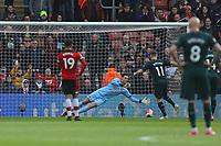 Football - 2019 / 2020 Premier League - Southampton vs. Newcastle United<br /> <br /> Southampton's Alex McCarthy saves Matt Ritchie of Newcastle penalty during the Premier League match at St Mary's Stadium Southampton <br /> <br /> COLORSPORT/SHAUN BOGGUST