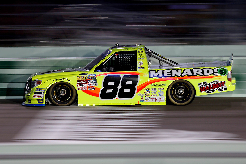 Nov 18, 2016; Homestead, FL, USA; NASCAR Camping World Truck Series driver Matt Crafton (88) during the Ford Ecoboost 200 at Homestead-Miami Speedway. Mandatory Credit: Peter Casey-USA TODAY Sports