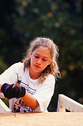 Chelsea Clinton, daughter of Bill and Hillary Clinton volunteers at a Habitat for Humanity build in Atlanta, Georgia in 1991.
