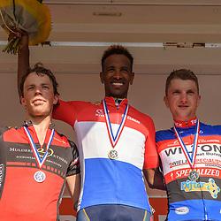18-06-2017: Wielrennen: NK Paracycling: Montferland<br /> s-Heerenberg (NED) wielrennen Podium mannen C4-5 met Daniel Abraham Gebru (Nederlands kampioen) en Bastiaan Gruppen op 2 en Martin van de Pol op 3