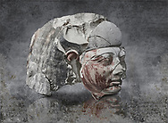 Ancient Egyptian statue head of a monarch, limestone, Middle Kingdom, mis 12th Dynasty, (1900-1850 BC), Qqw el-Kebir, tomb of Ibu. Egyptian Museum, Turin. <br /> <br /> Since this statue head comes from the tomb of Ibu it is likely that they depict a powerful gosvenor, although the incsription is lost. It can be dated by its style which is close to the statues of Amenemhat II and Sesostris II. Schiaparelli excavations. Cat 4410 & 4414 .<br /> <br /> Visit our HISTORIC WALL ART PRINT COLLECTIONS for more photo prints https://funkystock.photoshelter.com/gallery-collection/Historic-Antiquities-Photo-Wall-Art-Prints-by-Photographer-Paul-E-Williams/C00002uapXzaCx7Y<br /> <br /> Visit our Museum ART & ANTIQUITIES COLLECTIONS to browse more photo at: https://funkystock.photoshelter.com/p/museum-antiquities