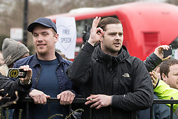 "© Licensed to London News Pictures. 11/03/2018. London, UK. A man creates a ring shape with his thumb and finger . The OK gesture has been adopted by the alt-right to symbolise support for Donald Trump along with alt-right memes such as Pepe . Alt right and Generation Identity and other far-right groups hold a demonstration at Speakers' Corner in Hyde Park , opposed by antifascists . Generation Identity supporters Martin Sellner and Brittany Pettibone were due to speak at the demo but were arrested and detained by police when they arrived in the UK , also forcing them to cancel an appearance at a UKIP "" Young Independence "" youth event , which in turn was reportedly cancelled amid security concerns . Photo credit: Joel Goodman/LNP"