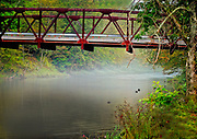 Bridge over the Willowemac Trout Stream in Livingston Manor, New York in the Catskill Mountains