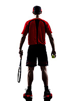 one man tennis player back rear view in silhouette isolated on white background