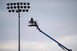 Sky cameraman next to floodlight - Photo mandatory by-line: Dougie Allward/JMP - Tel: Mobile: 07966 386802 31/03/2013 - SPORT - RUGBY - Memorial Stadium - Bristol. Bristol v Plymouth Albion - RFU Championship.