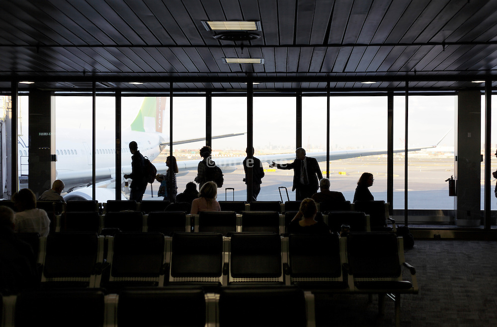 passengers guide towards the gate at Newark Airport