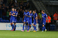 Greg Halford of Cardiff city (l) shows his relief as he celebrates with teammates after scoring his teams 2nd goal in extra time. Carabao Cup, 1st round match, Cardiff city v Portsmouth at the Cardiff city Stadium in Cardiff, South Wales on Tuesday August 8th 2017.<br /> pic by Andrew Orchard, Andrew Orchard sports photography.