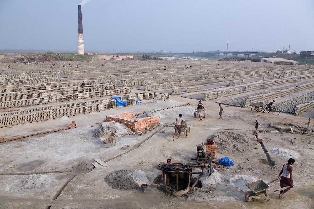 Long view of a brick making factory in Bangladesh.