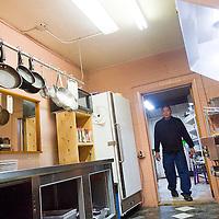 111712       Cable Hoover<br /> <br /> Head chef David Singer enters his kitchen to prepare for service at La Tinaja Saturday.