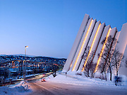 The Tromsdalen Church, or the Arctic Cathedral as it's commonly known, built in 1965 in Tromso, Norway