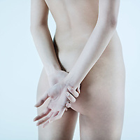 studio shot picture of the back young beautiful naked  woman