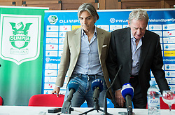 Rodolfo Vanoli and president Milan Mandaric during presentation of a new head coach of NK Olimpija, on April 22, 2016 in Austria Trend Hotel, Ljubljana, Slovenia. Photo by Vid Ponikvar / Sportida