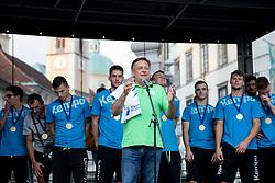 Zoran Jankovic, major of Ljubljana during reception of Slovenian U20 handball players after winning gold at 2018 EHF U20 Men's European Championship, on July 30, 2018 in Ljubljana, Slovenia. Photo by Urban Urbanc / Sportida
