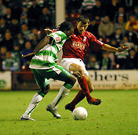 Photo: Dave Linney.<br />Walsall v Yeovil Town. The FA Cup. 03/12/2005.<br />Paul Terry(Left/Yeovil) keeps an eye on   Alex Nichols( Walsall)