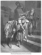 The Good Samaritan arrives at the inn [Luke 10:34-35] From the book 'Bible Gallery' Illustrated by Gustave Dore with Memoir of Dore and Descriptive Letter-press by Talbot W. Chambers D.D. Published by Cassell & Company Limited in London and simultaneously by Mame in Tours, France in 1866
