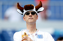 An England fan in the stands before the FIFA World Cup, Quarter Final match at the Samara Stadium.