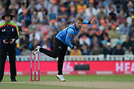 Will Beer of Sussex Bowling during the Vitality T20 Finals Day semi final 2018 match between Sussex Sharks and Somerset County Cricket Club at Edgbaston, Birmingham, United Kingdom on 15 September 2018.