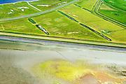 Nederland, Friesland, Gemeente Dongeradeel, 05-08-2014; zeekleipolders achter de Waddenzee zeedijk, ten noorden van Anjum. Lauwersmeer nog net boven in beeld. <br /> Land reclamation of the nearby Wadden Sea. Seawall and polders.<br /> luchtfoto (toeslag); aerial photo (additional fee required); foto Siebe Swart / photo Siebe Swart