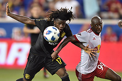 July 28, 2018 - Harrison, New Jersey, U.S - Columbus Crew SC Defender LALAS ABUBAKAR (17) and New York Red Bulls forward BRADLEY WRIGHT-PHILLIPS (99) fight for the ball at Red Bull Arena in Harrison New Jersey Columbus defeats New York 3 to 2 (Credit Image: © Brooks Von Arx via ZUMA Wire)