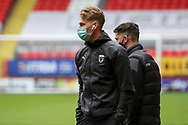 AFC Wimbledon defender Dan Csoka (3) arriving for the game during the EFL Sky Bet League 1 match between Charlton Athletic and AFC Wimbledon at The Valley, London, England on 12 December 2020.