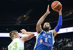 Alen Omic of Slovenia vs  Ioannis Bourousis of Greece during friendly match between National Teams of Slovenia and Greece before World Championship Spain 2014 on August 17, 2014 in Kaunas, Lithuania. Photo by Robertas Dackus / Sportida.com