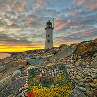 New England photography of Scituate Lighthouse at sunrise. This beautiful Massachusetts lighthouse is located on Cedar Point in Scituate Massachusetts.<br />