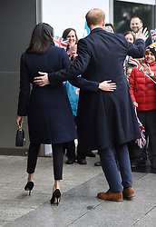 Prince Harry and Meghan Markle meet members of the public on a walkabout during a visit to Millennium Point in Birmingham, as part of the latest leg in the regional tours the couple are undertaking in the run-up to their May wedding.