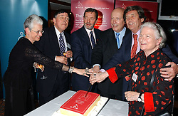 Left to right, JACQUELINE WILSON OBE, COLIN LOWE, DAVID BLUNKETT MP,  JULIAN FELLOWES, LORD BRAGG and BARONESS JAMES OF HOLLAND PARK at a party to celebrate the anniversary of the launch of Talking Books held at The Arts Club, 40 Dover Street, London W1 on 8th November 2005.<br /><br />NON EXCLUSIVE - WORLD RIGHTS
