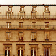 A traditional Parisian Building showing symmetrical Architecture.  Paris, France, 28th February 2011 .