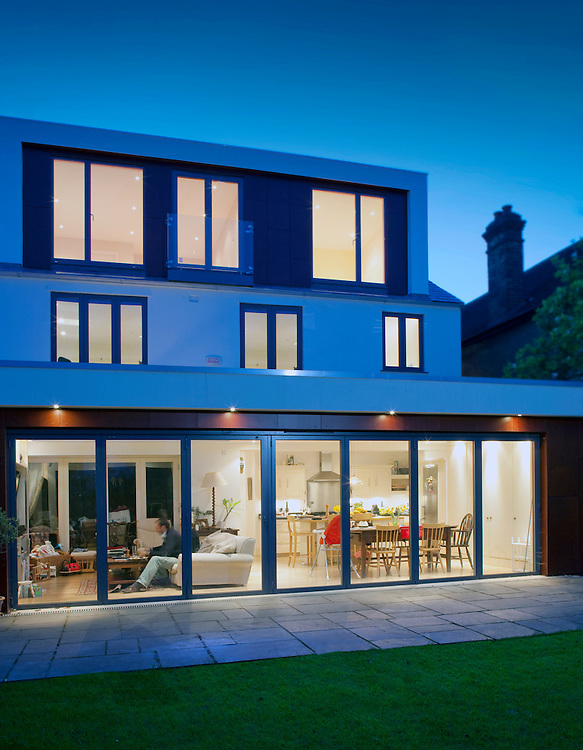 house extension at night