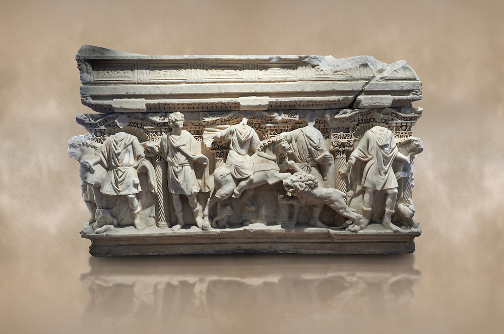 Roman sarcophagus with relief sculptures from Hierapolis . Hierapolis Archaeology Museum, Turkey<br /> <br /> Columned Sarcophagus Sarcopinagu of Euthios Pyrrnon, Asian Archon (ruler), Roman Period First quarter of third century A.D. Loadicea. <br />  <br /> Four sides of these sarcophagi are all in relief. They appear like a columned temple. The reliefs between the grooved columns are related to the private life of the individual. His/her education, heroic scenes and plant or mythological motifs are decorated in relief. The cover of the sarcophagus is arranged like a bed and it is depicted as the wife and the husband as lying on it. The name of the individual and some mythological reliefs are found in the surrounding of the cover. The two sarcophagi in the hall are of this kind. Against an art background .<br /> <br /> If you prefer to buy from our ALAMY STOCK LIBRARY page at https://www.alamy.com/portfolio/paul-williams-funkystock/greco-roman-sculptures.html- Type - Hierapolis - into LOWER SEARCH WITHIN GALLERY box - Refine search by adding a subject, place, background colour, museum etc.<br /> <br /> Visit our CLASSICAL WORLD HISTORIC SITES PHOTO COLLECTIONS for more photos to download or buy as wall art prints https://funkystock.photoshelter.com/gallery-collection/The-Romans-Art-Artefacts-Antiquities-Historic-Sites-Pictures-Images/C0000r2uLJJo9_s0c
