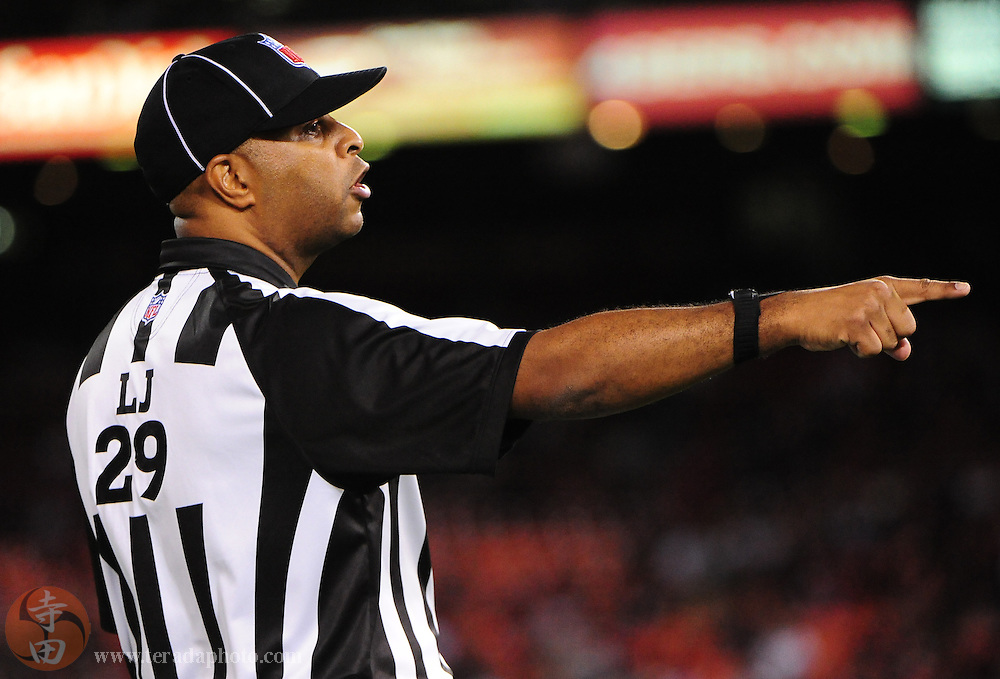 September 2, 2010; San Francisco, CA, USA; NFL umpire Steve Wilson (29) signals during the fourth quarter between the San Francisco 49ers and the San Diego Chargers at Candlestick Park. The 49ers defeated the Chargers 17-14. Mandatory Credit: Kyle Terada-Terada Photo